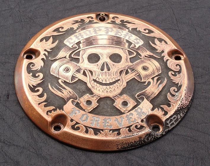 """Copper Derby Cover : Paul holbrecht """"choppers forever engraved harley"""