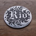 Relief engraved 'Name tag' on aluminium disc (Relief engraved 'Name tag' on aluminium disc)