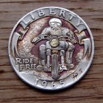 'Ride Free' clad coin 1965 Washington quarter $ carving 2