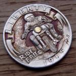 'Ride Free' clad coin 1965 Washington quarter $ carving 3
