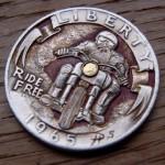 'Ride Free' clad coin 1965 Washington quarter $ carving 4