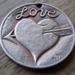 'Heart & Arrow' Love token-coin carving (1978 French 10 Francs coin) 1a