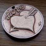 'Heart & Arrow' Love token-coin carving (1978 French 10 Francs coin) 2
