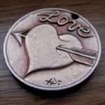 'Heart & Arrow' Love token-coin carving (1978 French 10 Francs coin) 3