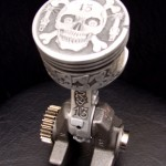 'Lucky 13' relief engraved piston & connecting rod (final assembly) 1b