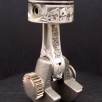 'Lucky 13' relief engraved piston & connecting rod (final assembly) 2b