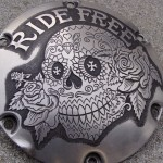 'Ride Free' hand engraved H-D Sportster derby cover 2a