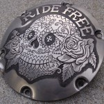 'Ride Free' hand engraved H-D Sportster derby cover 3b