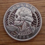 Skulled 1998 Washington Quarter $ clad coin carving 1