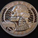 Skulled 1998 Washington Quarter $ clad coin carving 1aa