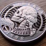 Skulled 1998 Washington Quarter $ clad coin carving 5