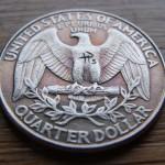 Skulled 1998 Washington Quarter $ clad coin carving (backside)