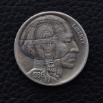 'Vintage Racer' Hobo nickel (1936 USA Buffalo 5 Cents nickel) 1