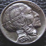 'Vintage Racer' Hobo nickel (1936 USA Buffalo 5 Cents nickel) 2