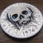 'Skulled 1974 French 5 francs coin' 5