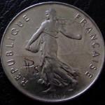 'Skulled 1974 French 5 francs coin' backside 1974 French 5 francs+signature